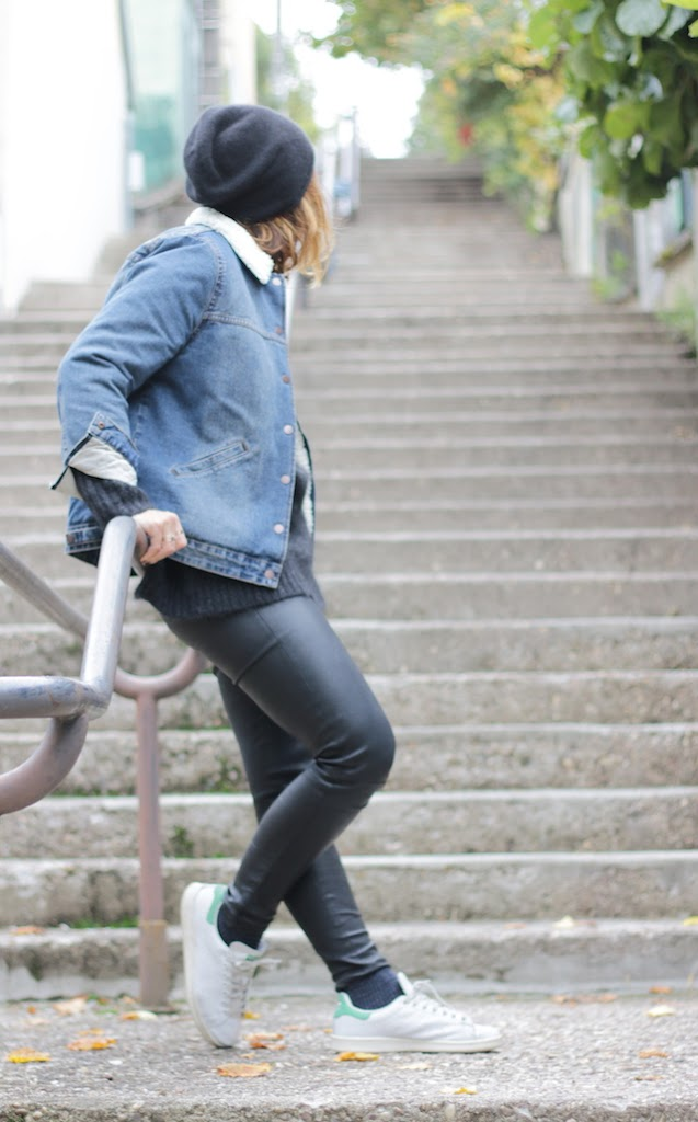 Juste juliette, blog mode, blog mode lille, fashion blogger, lille, bérénice, legging cuir, cos, jerome dreyfuss, stan smith